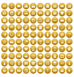 100 wealth icons set gold vector