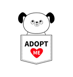 Adopt me dog sitting in the pocket red heart vector
