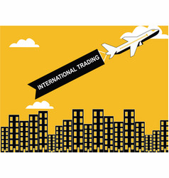 airplane having the ribbon tag vector image