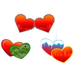 Allegorical symbols of hearts vector