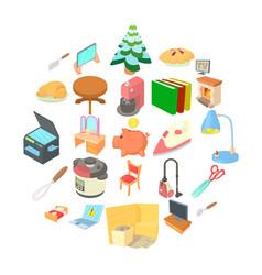 Amenity icons set cartoon style vector