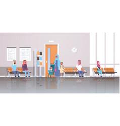 arabic patients waiting in line queue to doctor vector image
