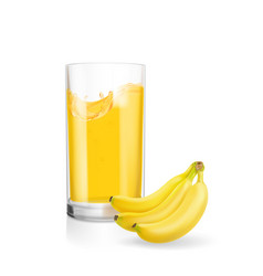 banana smoothie or banana juice glass realistic vector image