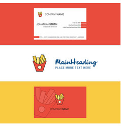 Beautiful fries logo and business card vertical vector