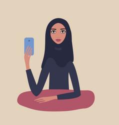 beautiful muslim woman wearing hijab holding vector image