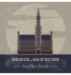 Belgium landmarks Retro styled image vector image