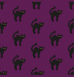 black cat on purple seamless vector image