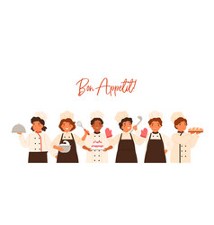 bon appetit banner with lettering and kids vector image