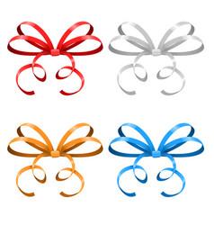 bows thin tied colored ribbons vector image