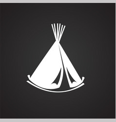 camp house tent vigvam on black background vector image