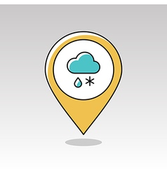 Cloud Snow Rain pin map icon Meteorology Weather vector