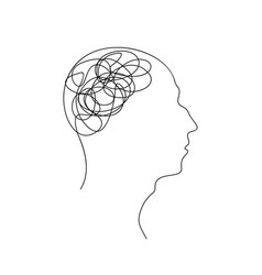 confusion in head continuous one line drawing vector image