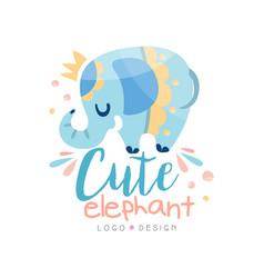 Cute elephant logo design emblem can be used for vector