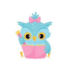 Cute wise owl reading a book school education and vector