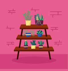 decorative house plants interior design vector image