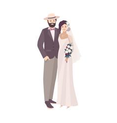 Elegant bride dressed in fancy vintage gown and vector