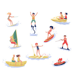 Extreme water sports set waterski flyboarding vector