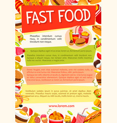 Fast food poster for fastfood restaurant vector