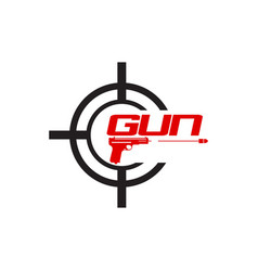 fast pistol logo gun logo with motion effect vector image