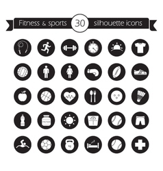 Fitness icons set Black vector image