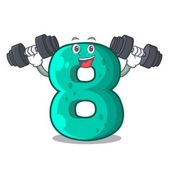 Fitness raster version cartoon shaped number eight vector