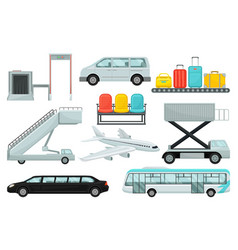flat set of airport elements transport vector image