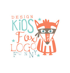 Fox logo funny kids original design baby shop vector