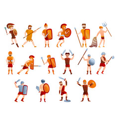 Gladiator icons set cartoon style vector
