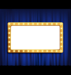 Gold frame on blue velvet curtain vector
