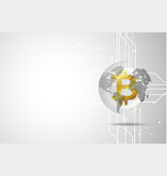 golden bitcoin digital currency and world global vector image