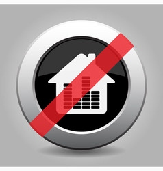 Gray chrome button - no house with equalizer vector