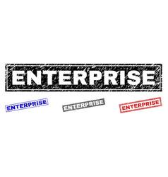 grunge enterprise scratched rectangle stamps vector image