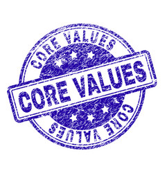 Grunge textured core values stamp seal vector