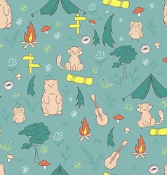 hand drawn seamless pattern with funny camping vector image