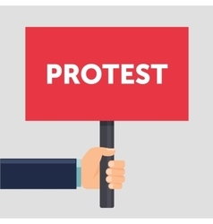 Hand holding protest sign flat vector