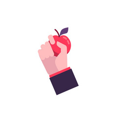 hand in flat style holds a red fresh apple vector image