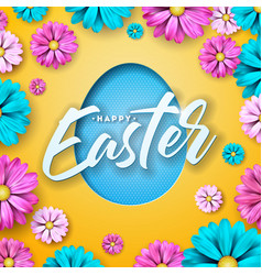 Happy easter design with colorful flower and paper vector