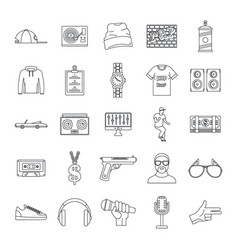 Hiphop rap swag music dance icons set outline vector