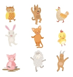 Humanized Animals Collection Of Artistic Funny vector image