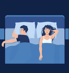 Insomnia abstract concept with a couple in bed vector