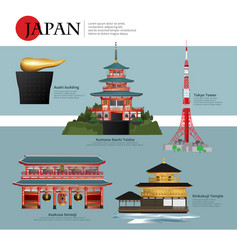 Japan landmark and travel attractions vector