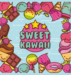 Kawaii food with background colorful image vector