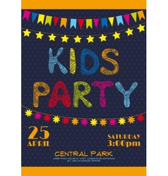 Kids party invitation poster vector image
