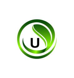 leaf initial u logo design template vector image