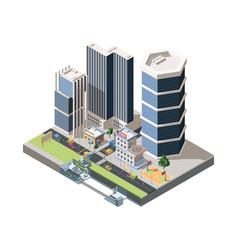 megapolis street scenery detailed isometric vector image