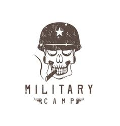 Military camp grunge emblem with smoking skull vector