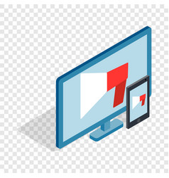 Monitor and tablet isometric icon vector