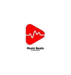 Music beats logo design template vector