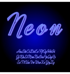 Neon tube hand drawn alphabet font vector