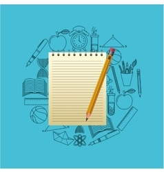 Notebook and pencil school design vector